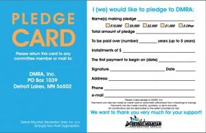 Pledge card to donate to Detroit Mountain