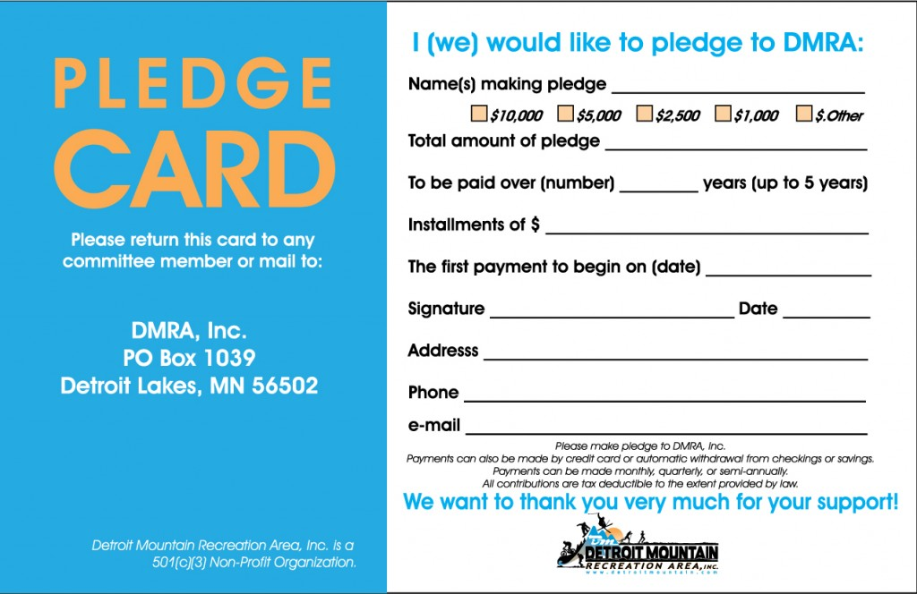 Pledge card to donate to Detroit Mountain